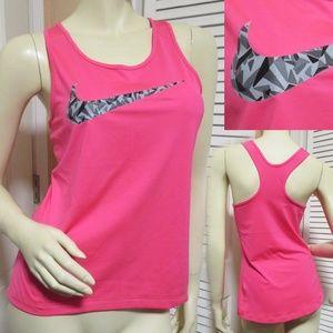 NIKE PRO DRI-FIT Pink Racerback Tank Top Gym Wear